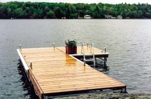 L-shaped Pipe dock in a lake in Muskoka.