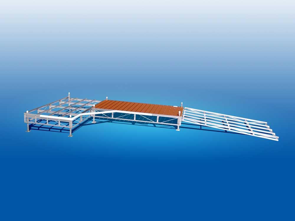 Computer rendering of our Muskoka Series Pipe Dock.