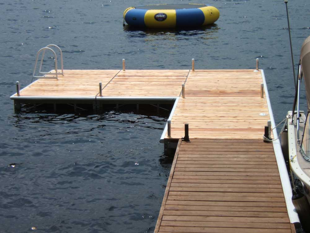 A Pipe dock extension of a crib dock.