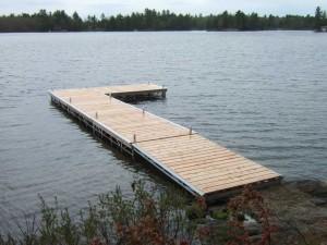 L-shaped pipe dock in Muskoka