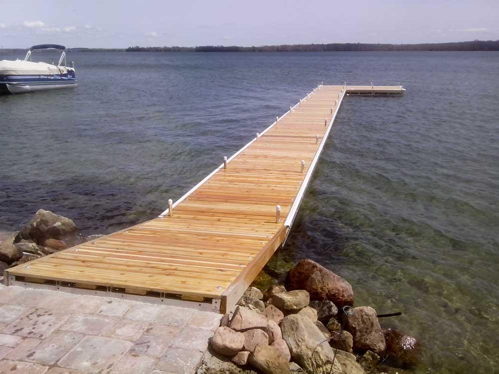 Log L-shaped Pipe Dock in Orillia.
