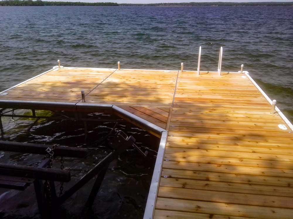 A Corner Walkway on a Pipe Dock.